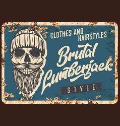 lumberjack skull beard metal rusty plate retro vector image