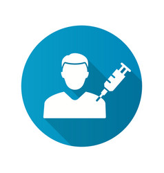 man and syringe icon with long shadow for graphic vector image