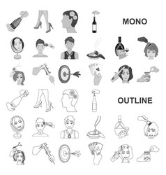 Manipulation by hands monochrom icons in set vector