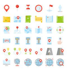 map location pin and navigation flat design icon vector image