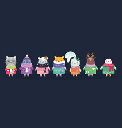 Merry christmas celebration cute animals with vector