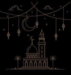 mono line style design islamic celebration vector image