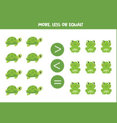 More less or equal comparison for kids turtle vector