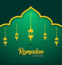 Mosque and lanterns on green background muslim vector