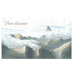 Mountain landscape Watercolor imitation in vector