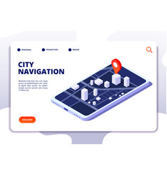 navigation map isometric concept gps location vector image