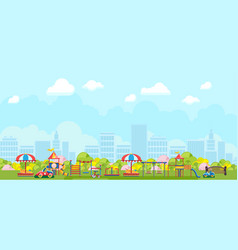 Panoramic view city playground in park vector