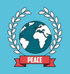 Peace world wreath laurel ribbon postcard modern vector