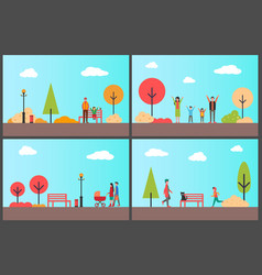 people in autumn park sunny day of fall season vector image