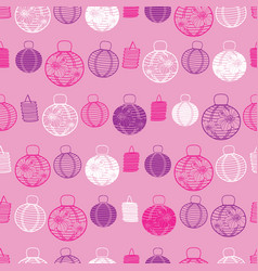 pink purple and white paper lanterns vector image
