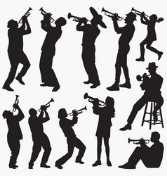 playing trumpet silhouettes vector image