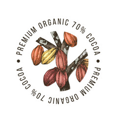 Premium organic cocoa label vector