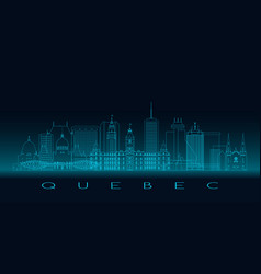 Quebec skyline detailed silhouette blue line vector
