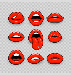 Red lips a collection vector