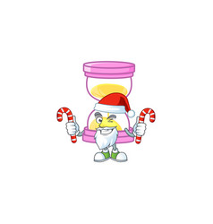 Santa with candy sandglass isolated with on white vector