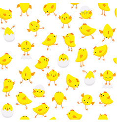 Seamless easter pattern chicks in various poses vector