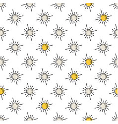 seamless pattern with yellow sun vector image