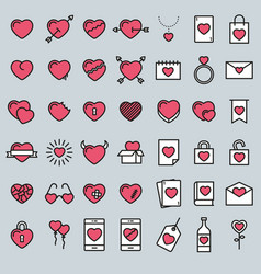 set 42 simple icons with heart vector image