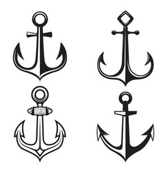 set of anchors icons isolated on white background vector image