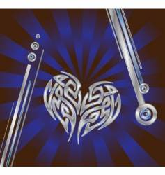 silver blue heart composition vector image