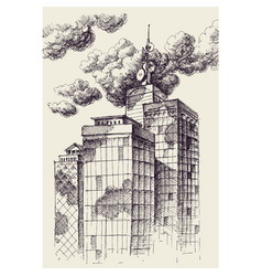 skyscrapers over cloudy sky wallpaper vector image