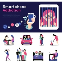 Smartphone addiction flat banners set vector