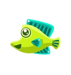 Smiling green fantastic aquarium tropical fish vector