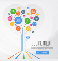 social media infographics circles with flat icons vector image vector image