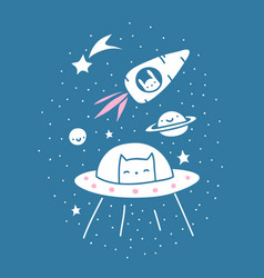 Space cat and space bunny vector