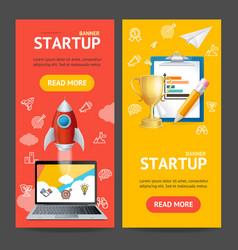 Startup banner vertical set vector