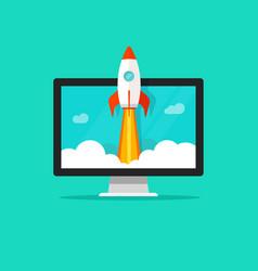 startup concept flat cartoon quick rocket vector image