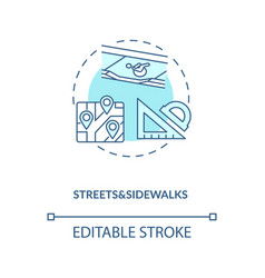 Streets and sidewalks turquoise concept icon vector