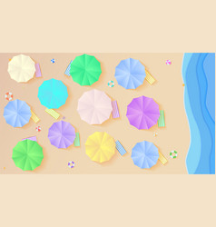 top view on summer filled beach in paper craft vector image