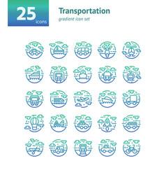 transportation gradient icon set vector image