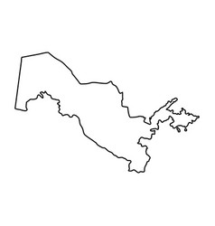 Uzbekistan map of black contour curves on white vector