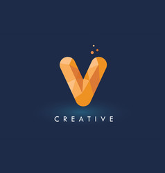 V letter with origami triangles logo creative vector