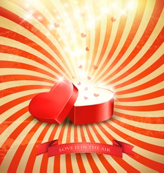 Valentines day background with an open red gift vector image