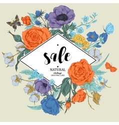 Vintage floral sale card with roses vector image