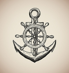 Vintage Marine Anchor with Steering Wheel isolated vector image