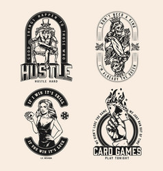 Vintage monochrome gambling badges vector