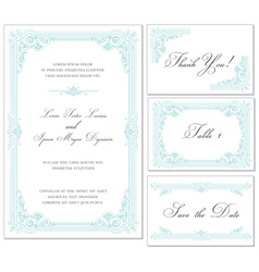 Vintage wedding frame set vector