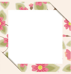 White paper sheet in floral frame vector