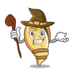 Witch sea shell mascot cartoon vector