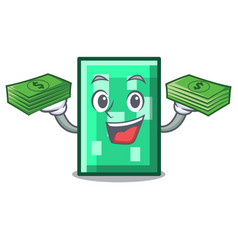 With money rectangle mascot cartoon style vector