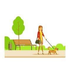 Woman Walking The Pet Dog On The Leash Part Of vector