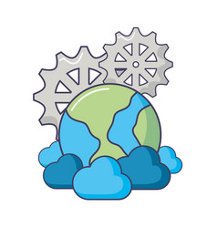 World cloud computing gears storage data vector