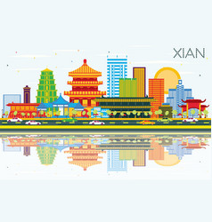 Xian china skyline with color buildings blue sky vector