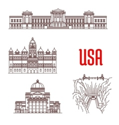 American landmarks and sightseeings icons vector image vector image