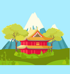 chinese house in mountains landscape vector image vector image
