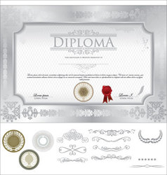 Diploma template vector image vector image